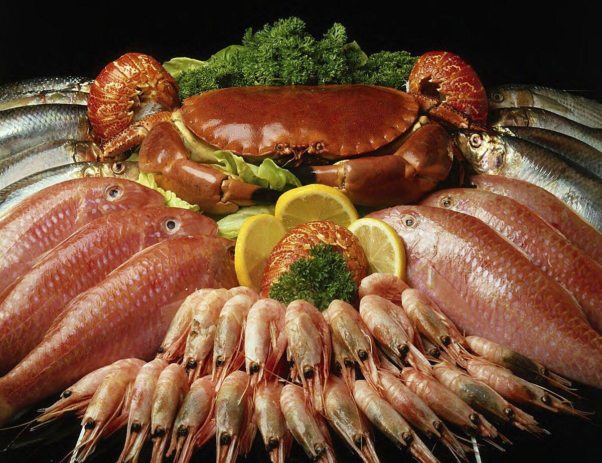 На фото: морепродукты